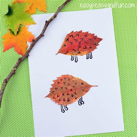 leaf craft for leaf hedgehogs craft easy peasy and