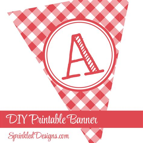 printable gingham banner pennant banner red checkered gingham plaid 4th of july