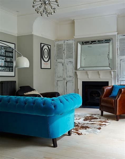 blue sofa living room give a living room character with clever colour ideas