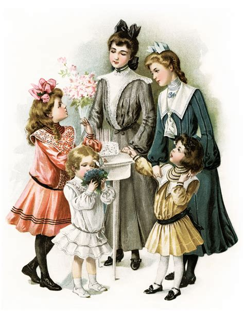 printable victorian images free vintage image victorian girls prepare for a party
