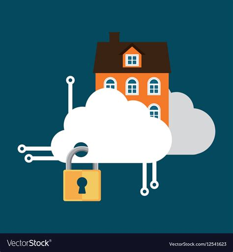 home security cloud technology lock royalty free vector