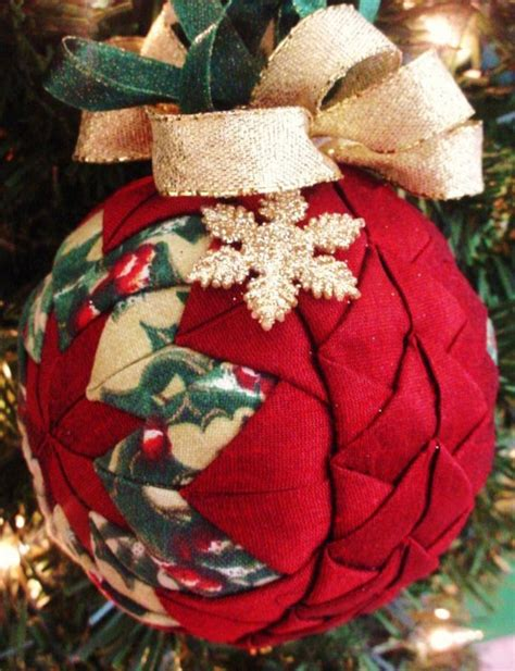 quilted christmas ornament red braided plus by