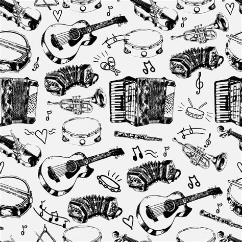 musical doodle free vector decorative musical store wrapping paper seamless pattern