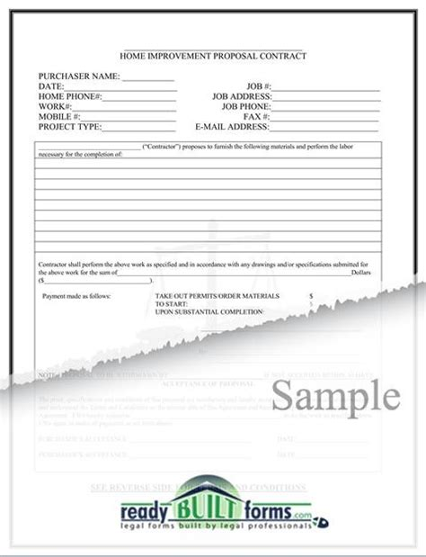 free printable home improvement contract form generic