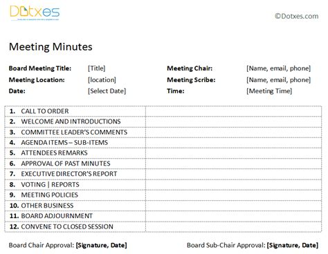 board minute template board meeting minutes template plain format dotxes