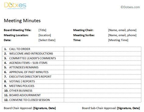 Board Meeting Minutes Template (Plain Format)   Dotxes
