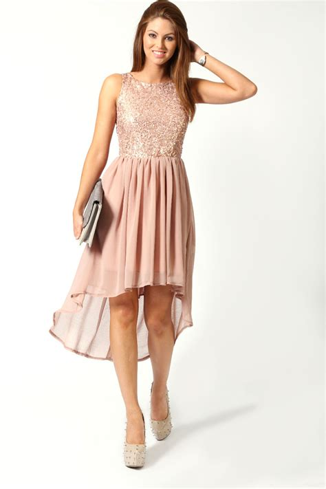 Jess Top Hs boohoo jess sleeveless sequin top open back chiffon dip hem dress in blush ebay