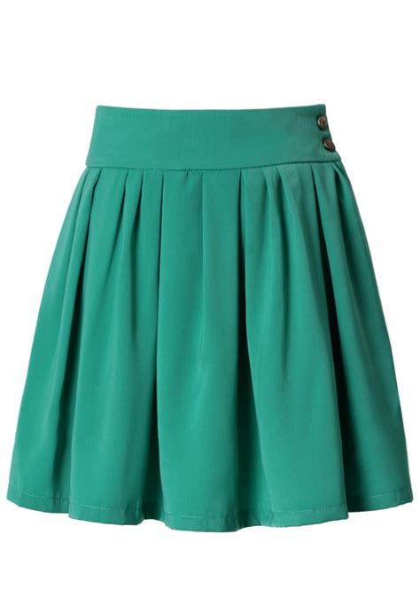 high waist green pleated skater skirt retro and