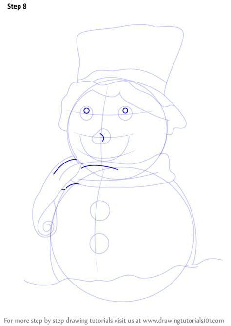 learn   draw  decorated snowman christmas step