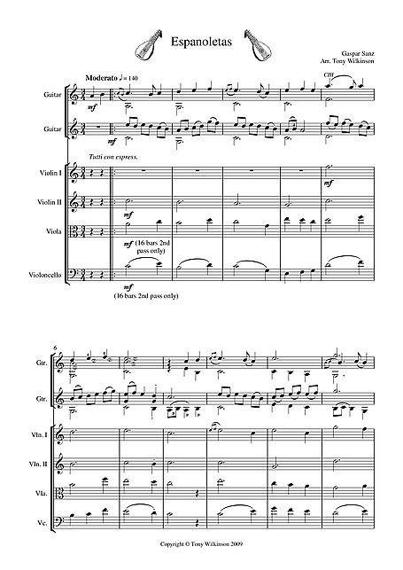 Espanoletas Ensemble arrangement - Guitar, String Quartet