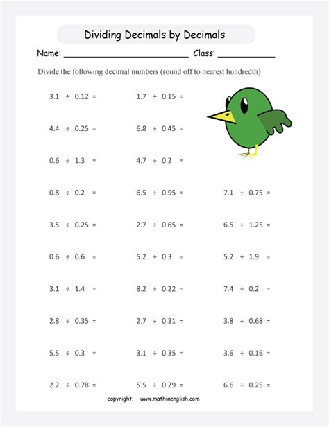 Division With Decimals Worksheets by Divide These Decimal Numbers By Decimal Numbers