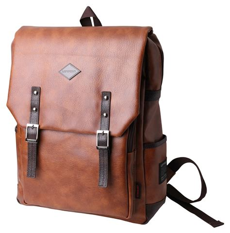 brown faux leather brown faux leather laptop backpacks for men