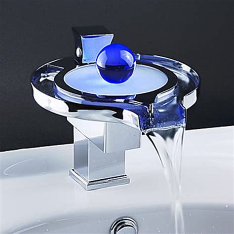 color changing led waterfall bathroom sink faucet unique