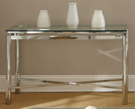 Glass And Chrome Console Table Natal Chrome And Glass Sofa Table Contemporary Console Tables By Overstock