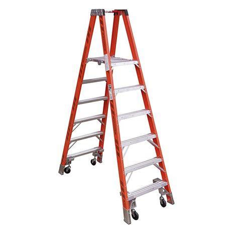 Home Depot 10 Foot Ladder by Werner 10 Ft Fiberglass Platform Step Ladder With Casters
