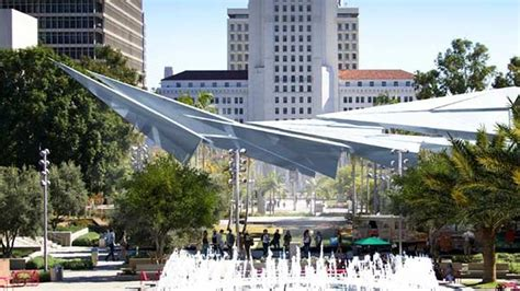 pattern paper downtown la paper airplane sculpture to provide shade at la s grand