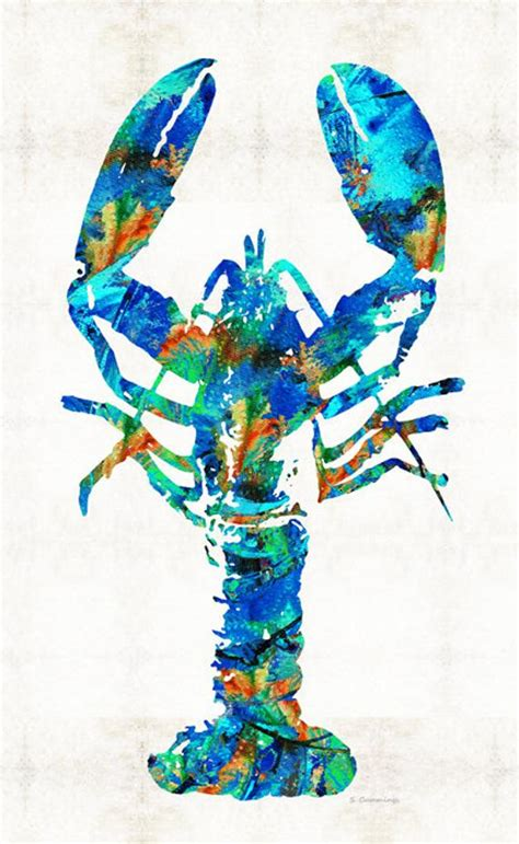colorful lobster colorful lobster print painting maine seafood house
