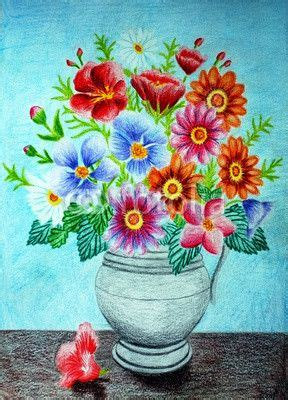 Pencil Drawing Flower Vase by Colored Pencil Flower Vase Drawing Floral Theme Flower Vases And Colored Pencils