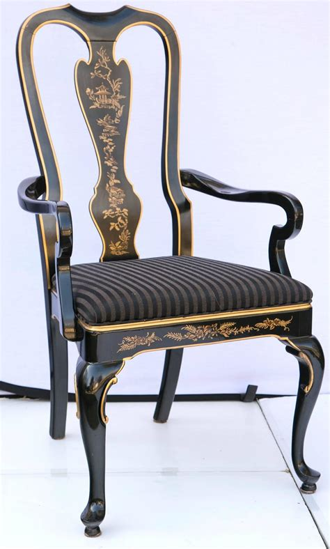 set of six drexel heritage black laquered chinoiserie