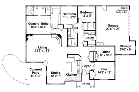 3 bedroom house plan elevation ranch house plans baileyville 30 976 associated designs