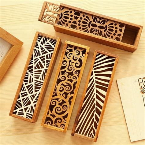 Creative Stationery Wood Lace Hollow Wooden Pencil Case