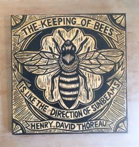 woodcut bee art honey bee art print henry david thoreau