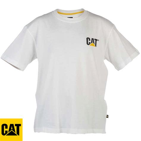 T Shirt Caterpillar White cat caterpillar trademark shirt c324