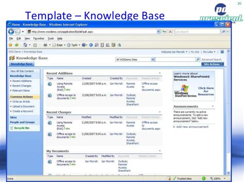 website templates for knowledge base sharepoint moss 2007 pros cons by toby ward prescient