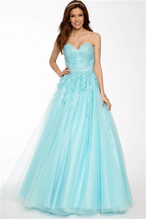 Classy A Line Strapless Sweetheart Light Blue Tulle Lace Long Prom Dress