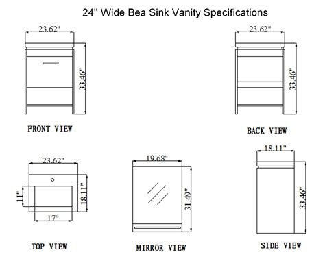 kitchen dimensions inches 24 inch bea vanity space saving vanity contemporary