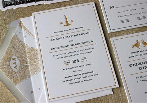 Wedding Invitations New York by Vintage Nyc Letterpress Wedding Invitations Sesame