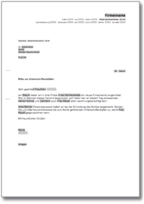 Anfrage Brief B2 Beispiel Musterbrief An Die Bank Bitte Um Unterschriftenbl 228 Tter De Musterbrief