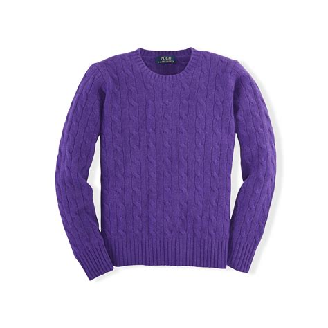 purple knit sweater ralph cable knit sweater in purple lyst