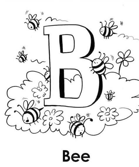 Capital B Coloring Page by Capital B For Bee Coloring Page