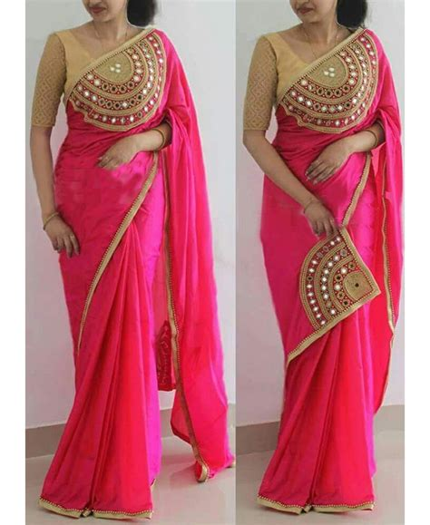 which colour blouse suits for pink saree re gorgeous pink paper silk hand work saree with un