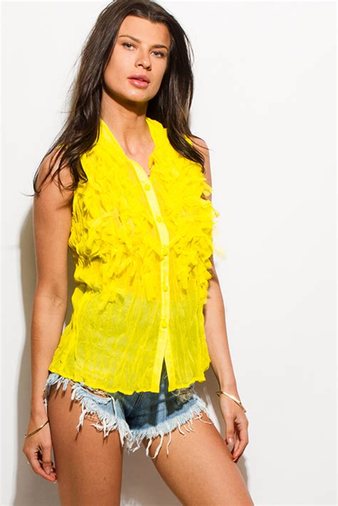 Crop Top Import 42429 Green Texture Lace Top shop bright yellow crinkle chiffon fringe textured button