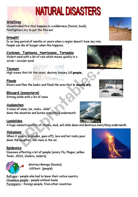 natural disasters esl worksheet by mojcafurlan