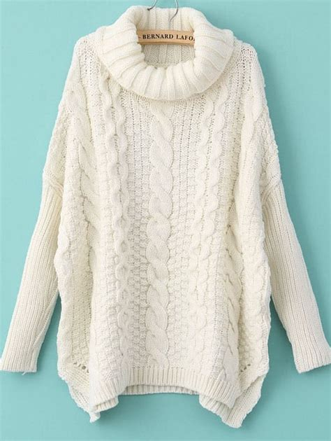 sweater knit turtleneck chunky cable knit sweater shein sheinside