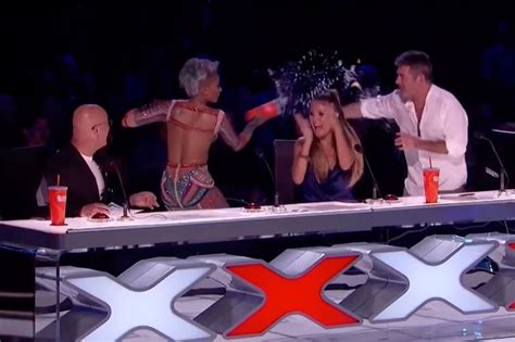 agt act america s got talent act wrong and mel b throws water in simon s