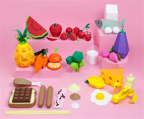 Papercraft Food - illustration food design crafts graphic design paper
