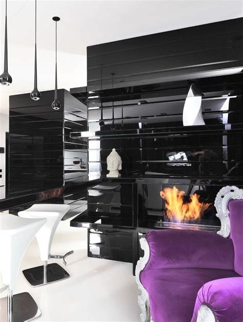 Black And Purple Living Room Ideas by Black Purple Living Room Interior Design Ideas