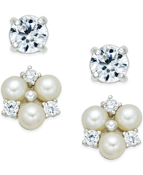macy s cultured freshwater pearl 4mm and cubic zirconia