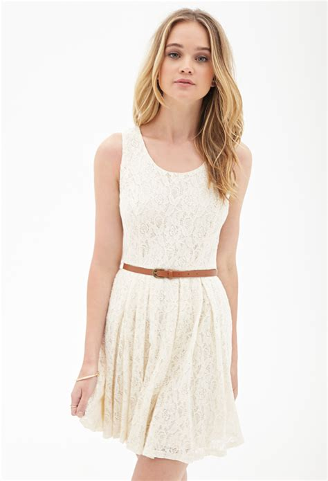 forever 21 belted crochet lace dress in white lyst