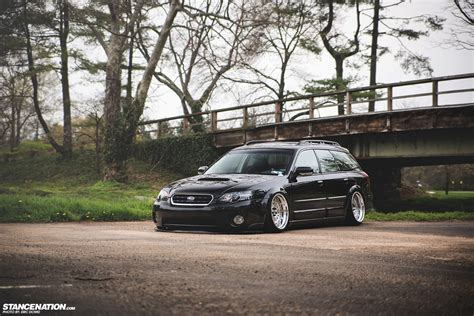 stanced subaru wagon getting it s bagged subaru legacy outback