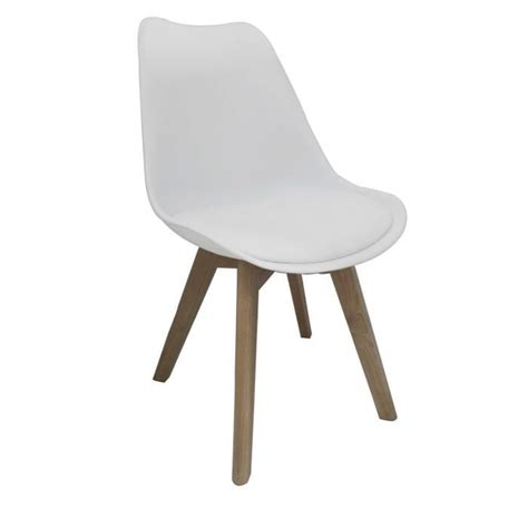 chaise pvc bjorn chaise coque pvc blanc pieds bois naturel achat
