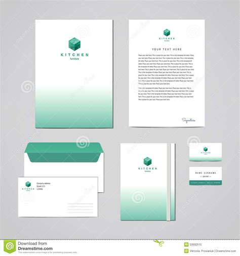 business folder template corporate identity furniture company turquoise design