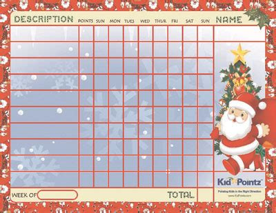 kids printable chart chirstmas theme kid pointz