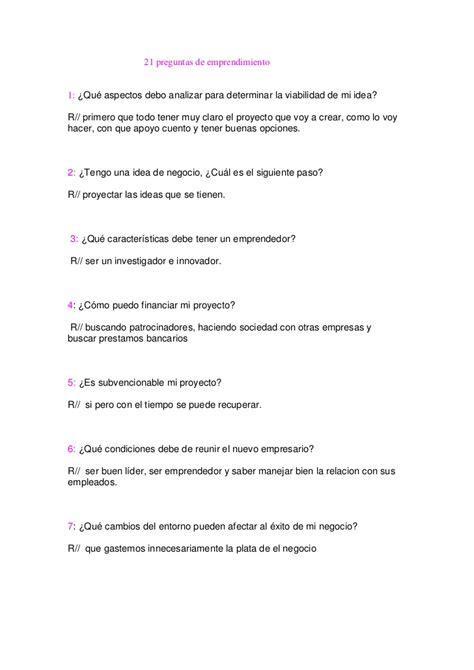 preguntas abiertas para un emprendimiento emprendimiento 21 preguntas