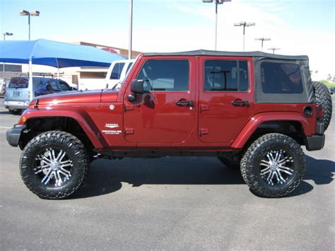 maroon jeep wrangler 4 door 2007 jeep wrangler sahara unlimited 4 door 4x4 lifted