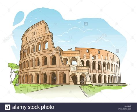 rome clipart sketch of the colosseum rome stock vector